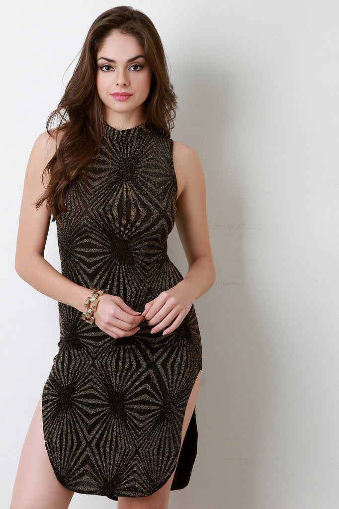 Starburst Mock Neck Sleeveless Bodycon Dress - Kaneli Nomad Boutique