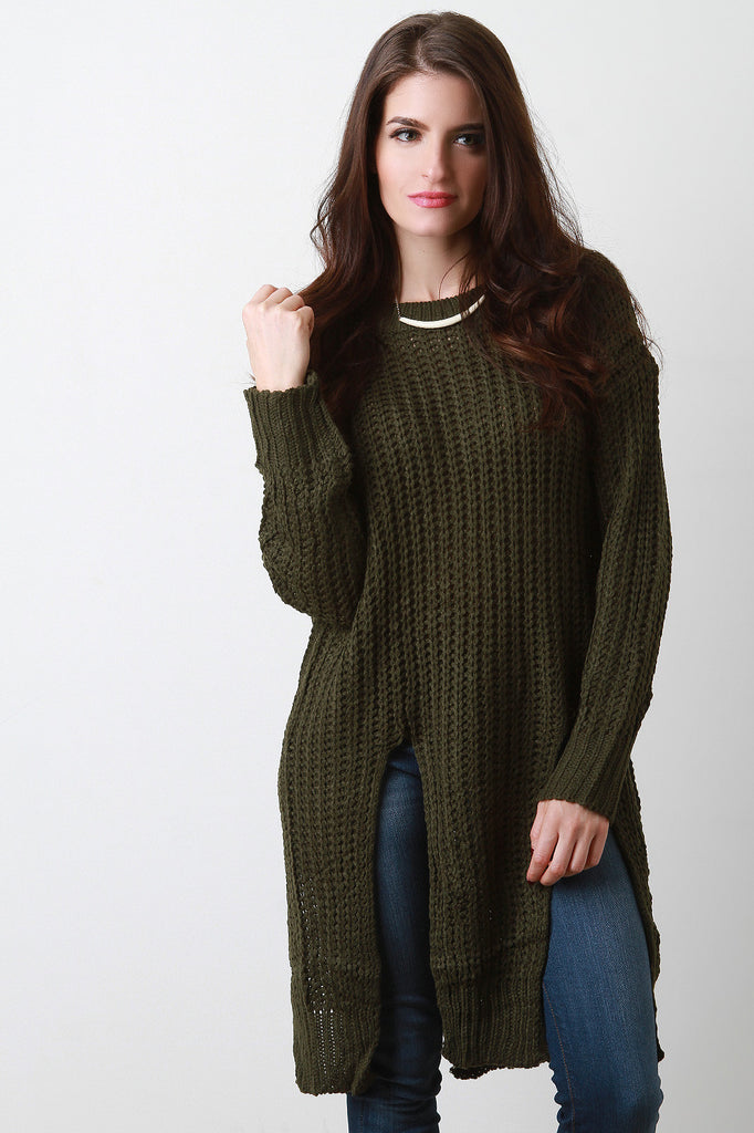 Chunky Rib Knit Slit Long Line Sweater - Kaneli Nomad Boutique