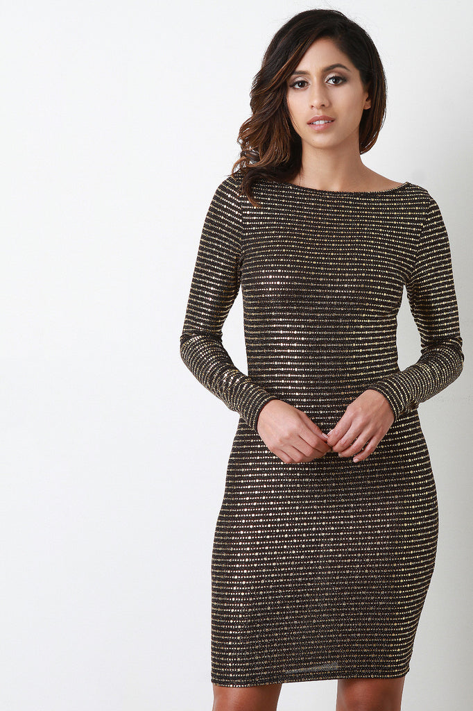 Open Back Metallic Print Long Sleeve Dress - Kaneli Nomad Boutique