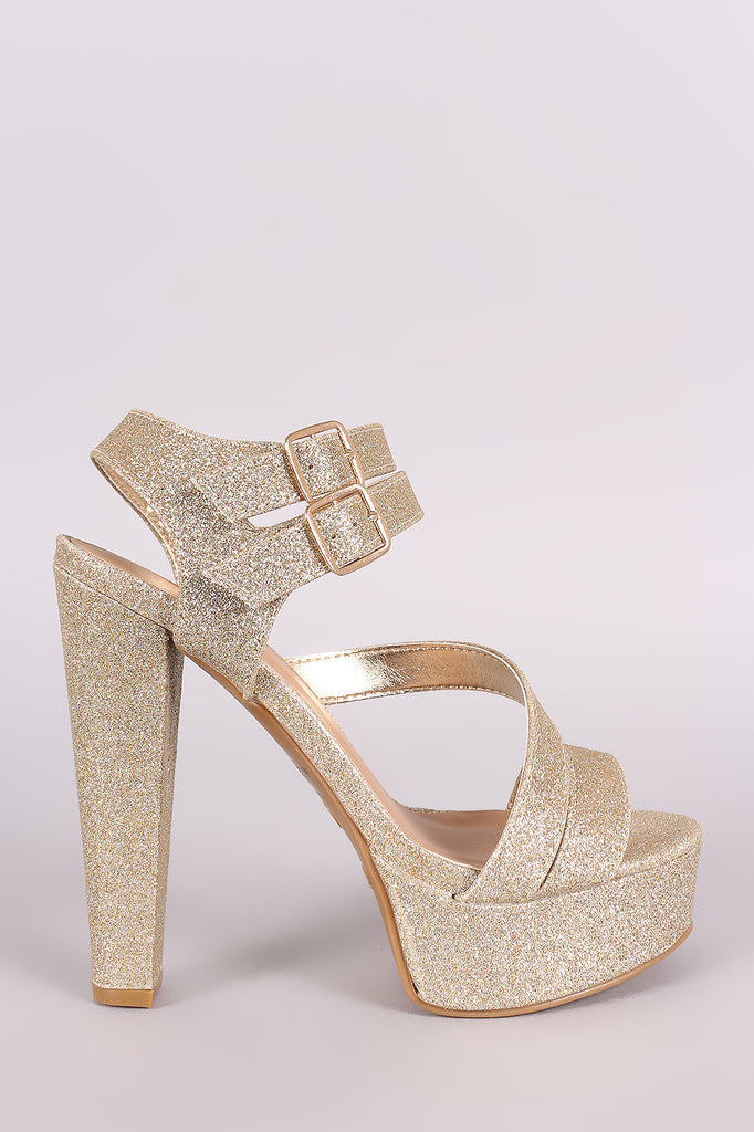 Bamboo Glitter Double Ankle Strap Chunky Platform Heel - Kaneli Nomad Boutique