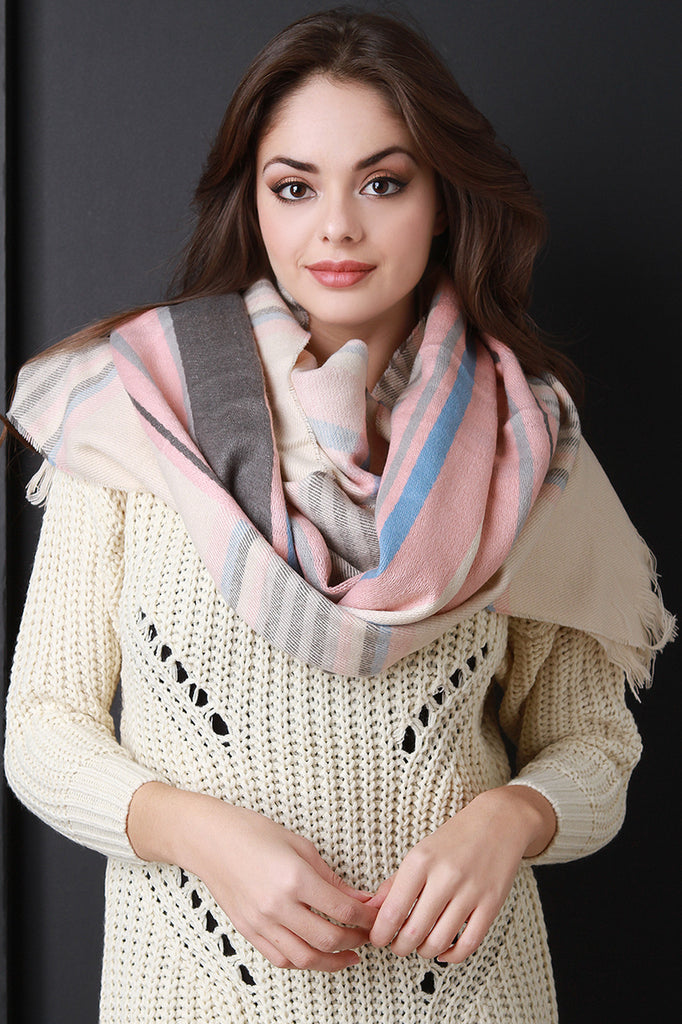 Pastel Plaid Over-sized Scarf - Kaneli Nomad Boutique