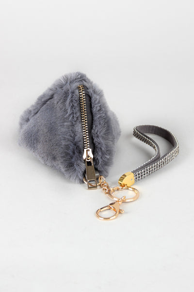 Faux Fur Pyramid Key Chain - Kaneli Nomad Boutique