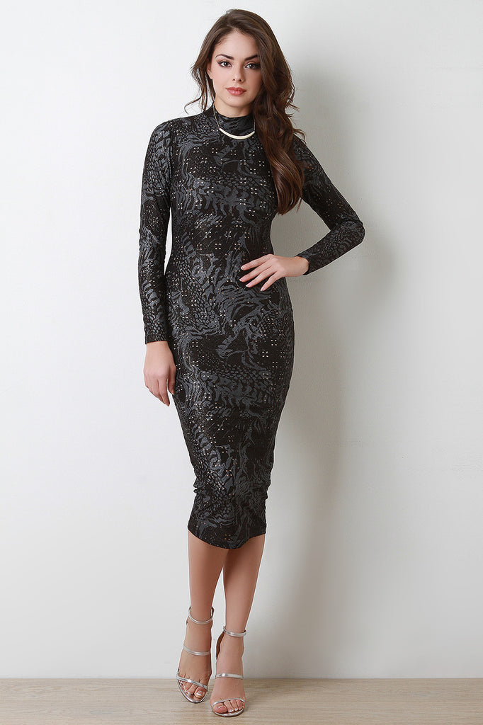 Printed Shimmering Knit Eyelet Bodycon Dress - Kaneli Nomad Boutique