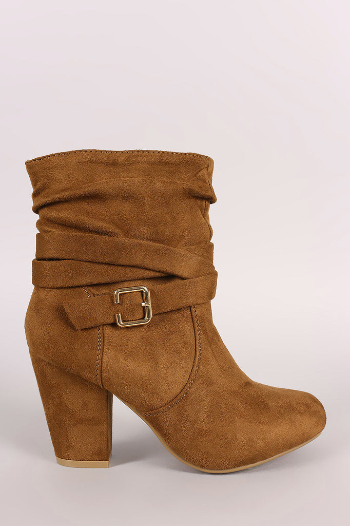 Slouchy Suede Buckled Ankle Strap Chunky Heeled Booties - Kaneli Nomad Boutique