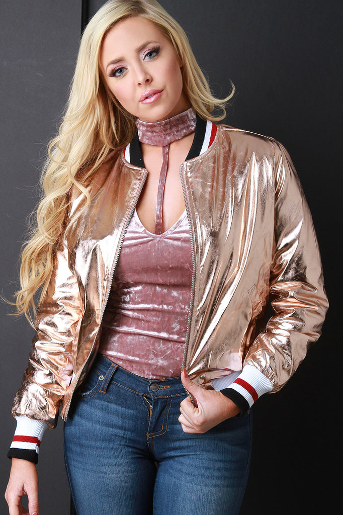 Metallic Striped Trim Bomber Jacket - Kaneli Nomad Boutique