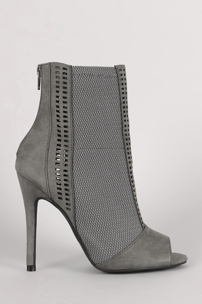 Qupid Perforated Suede Mesh Inset Stiletto Booties - Kaneli Nomad Boutique