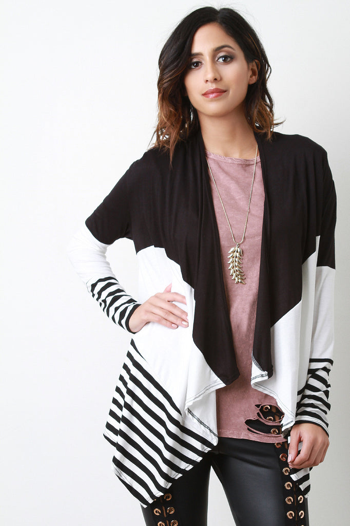 Colorblock And Stripe Draped Long Sleeve Open Front Cardigan - Kaneli Nomad Boutique