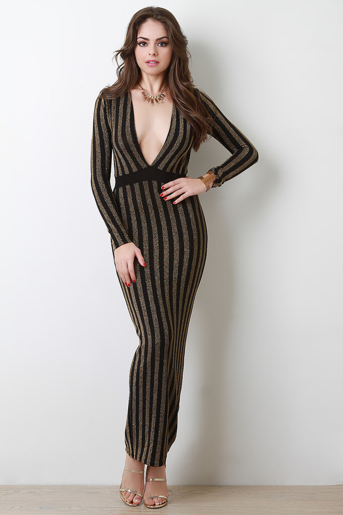 Metallic Sparkle Striped Plunge Neck Dress - Kaneli Nomad Boutique