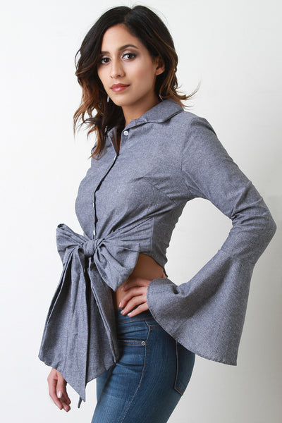 Bow Tie Button Up Bell Sleeves Crop Top - Kaneli Nomad Boutique