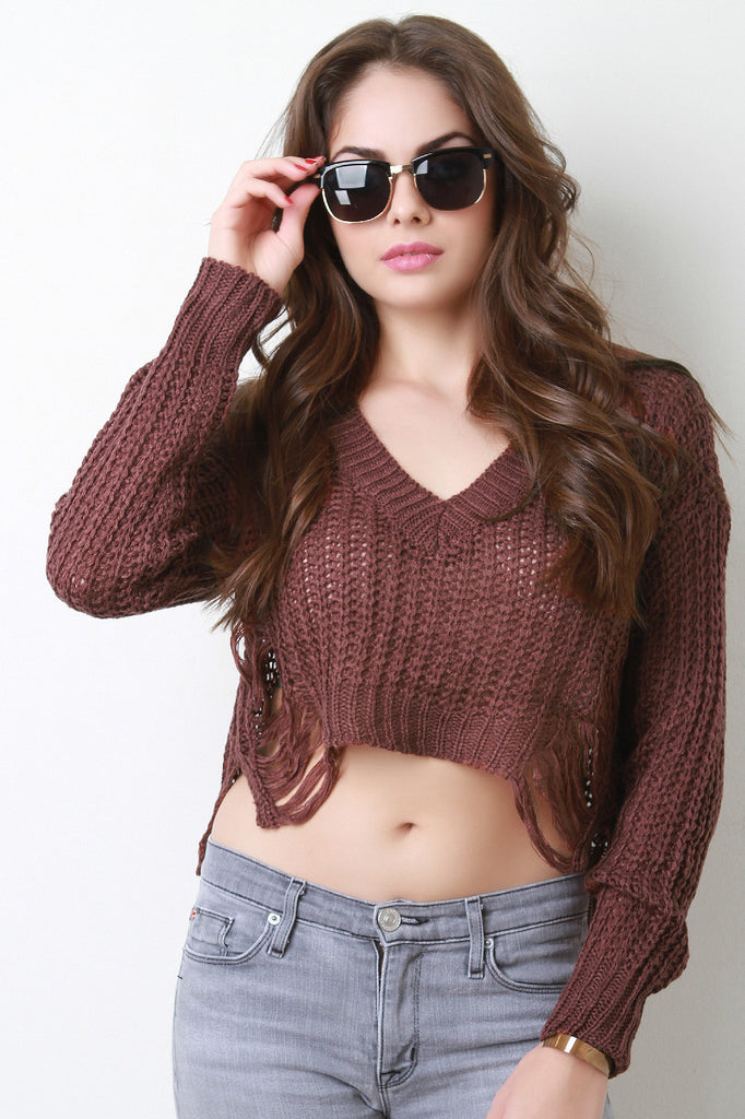 Distress Knit V-Neck Crop Sweater - Kaneli Nomad Boutique