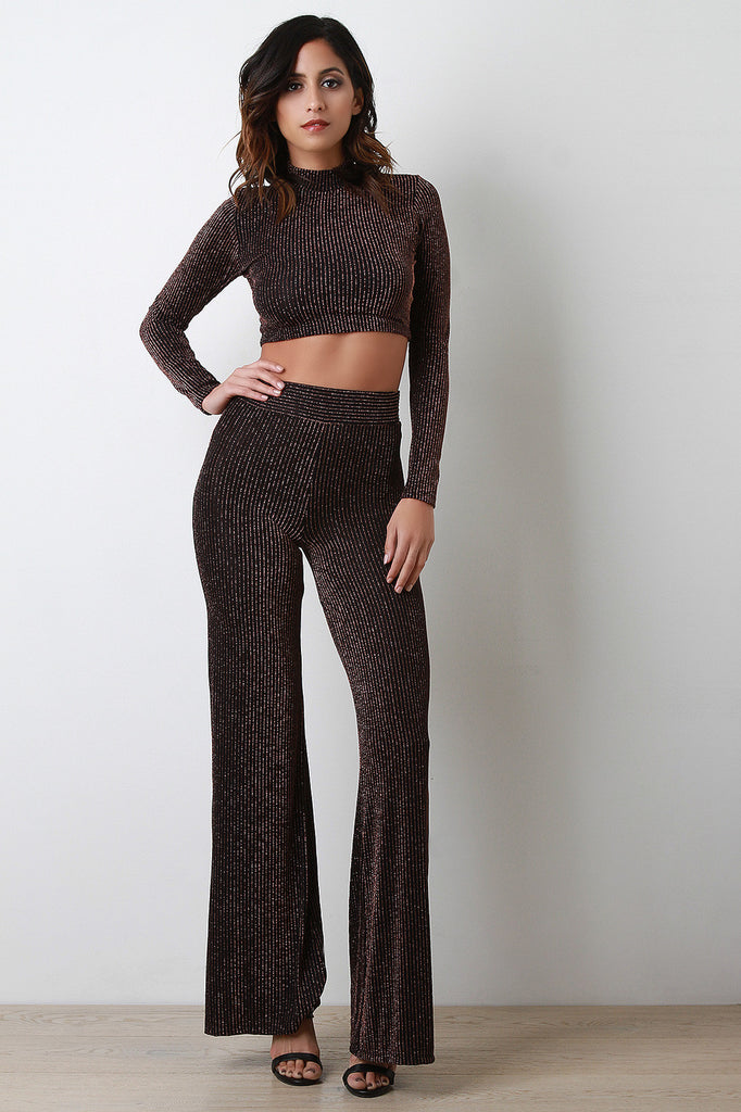 Metallic Pinstripe Wide Leg Pants - Kaneli Nomad Boutique