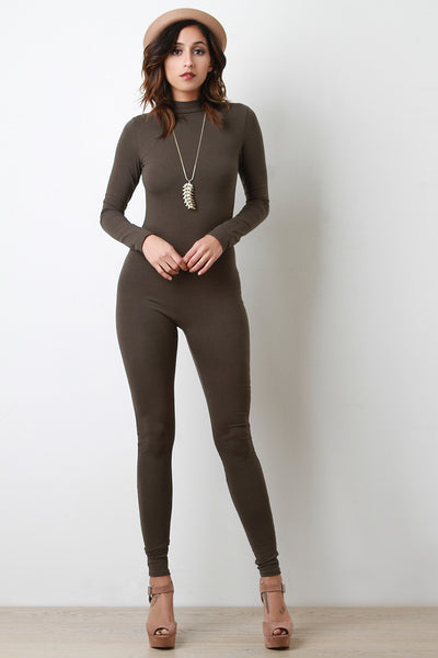 Mock Neck Exposed Back Zipper Jumpsuit - Kaneli Nomad Boutique