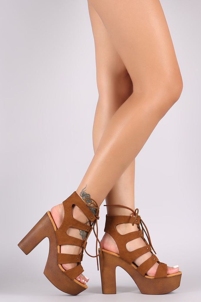 Bamboo Open Toe Lace Up Chunky Ghillie Platform Heel - Kaneli Nomad Boutique