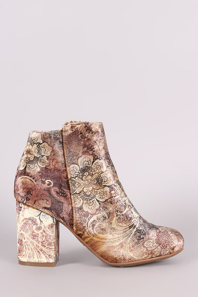 Bamboo Floral Print Velvet Chunky Heeled Ankle Boots - Kaneli Nomad Boutique