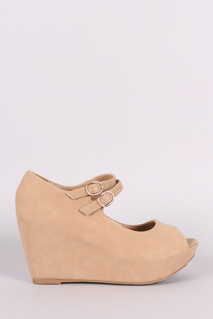 Bamboo Nubuck Double Mary Jane Strap Platform Wedge - Kaneli Nomad Boutique