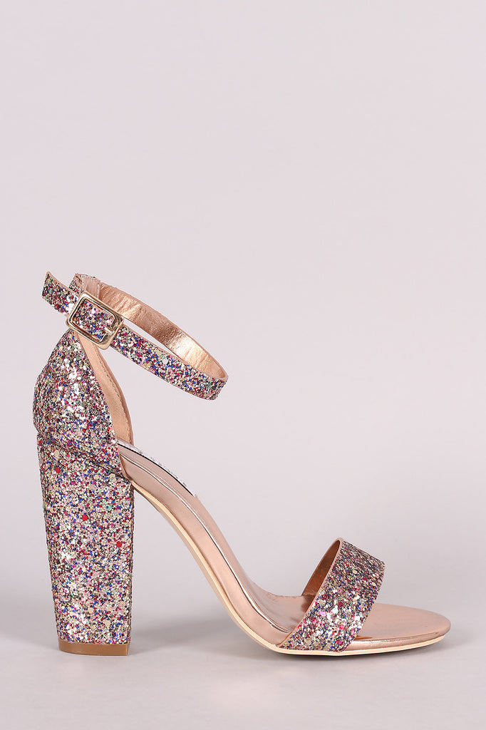 Glitter Encrusted Ankle Strap Chunky Heel - Kaneli Nomad Boutique