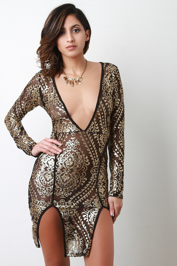 Semi-Sheer Mesh Baroque Sequin Dress - Kaneli Nomad Boutique