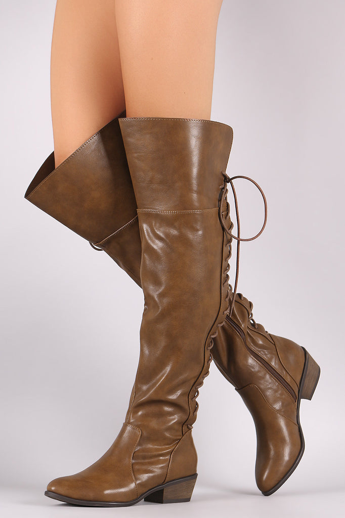 Breckelle Back Lace Up Over-The-Knee Boots - Kaneli Nomad Boutique