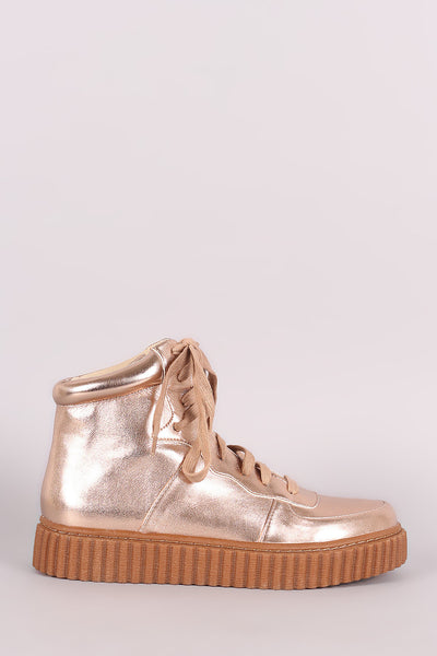 Metallic Round Toe Lace Up High Top Creeper Sneaker - Kaneli Nomad Boutique