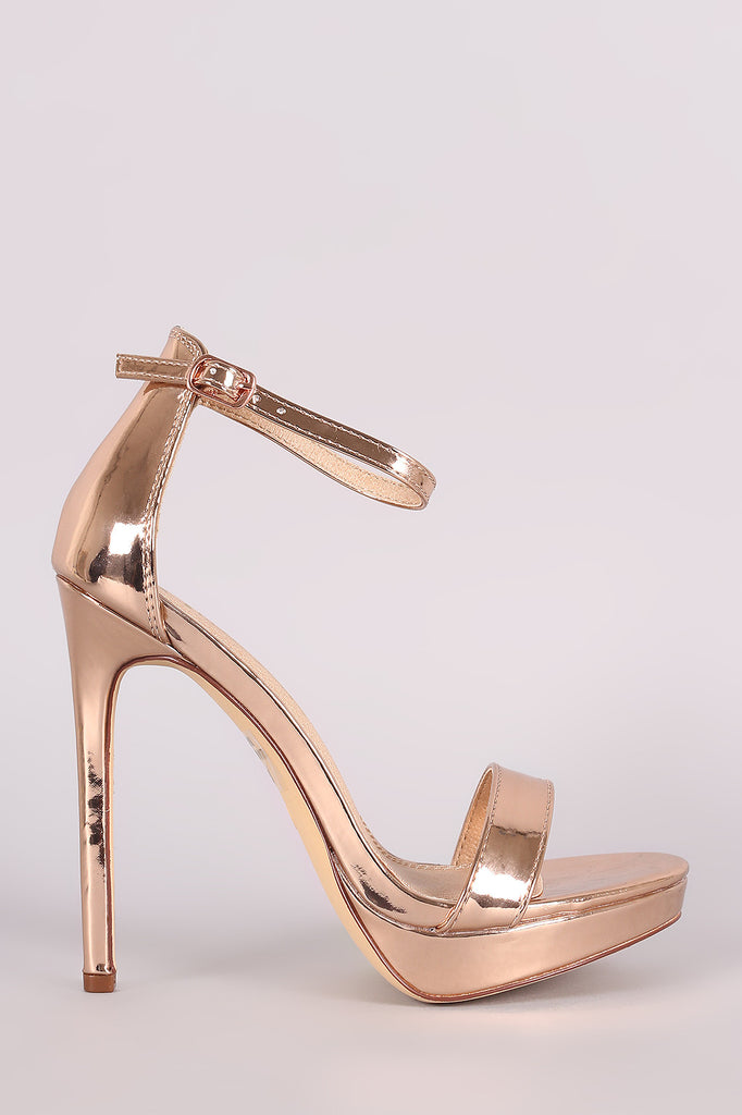 Mirror Metallic Ankle Strap Stiletto Platform Heel - Kaneli Nomad Boutique
