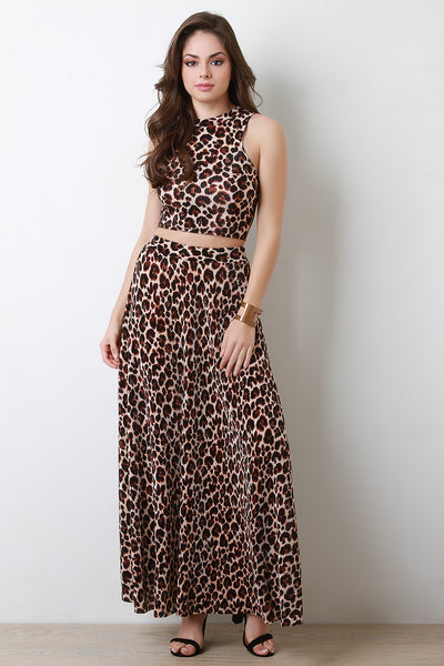 Leopard Print Pleated Texture Maxi Skirt - Kaneli Nomad Boutique