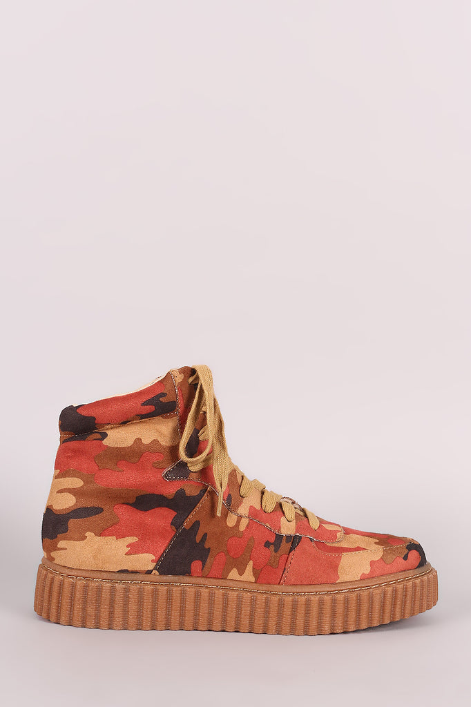 Camouflage Round Toe Lace Up High Top Creeper Sneaker - Kaneli Nomad Boutique