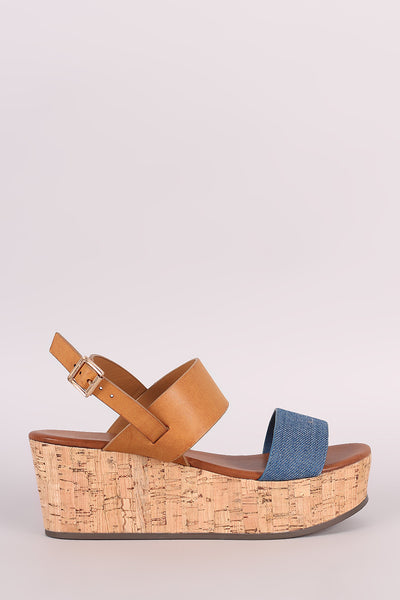 Bamboo Color Block Open Toe Cork Platform Wedge