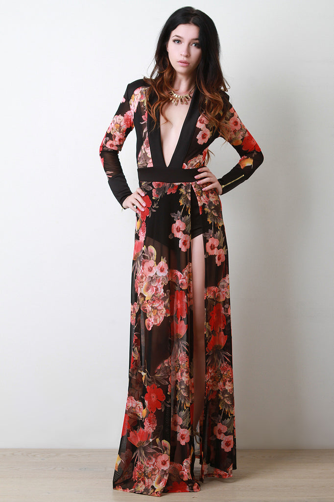 Floral Mesh Bodysuit Maxi Dress