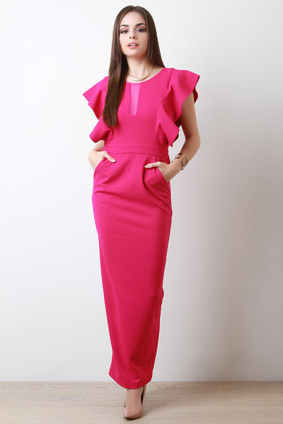 Butterfly Sleeve Taper Maxi Dress