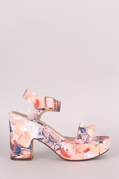 Bamboo Floral Print Ankle Strap Chunky Platform Heel