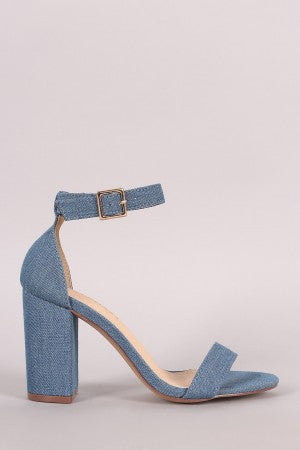 Liliana Denim Ankle Strap Open Toe Chunky Heel