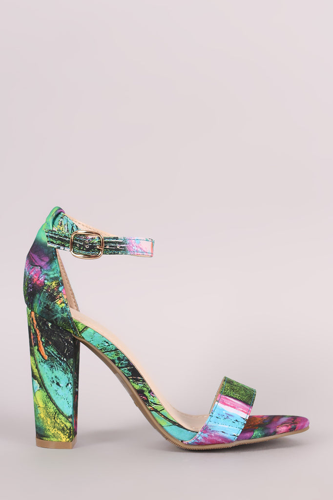 Bamboo Abstract Print Ankle Strap Chunky Heel