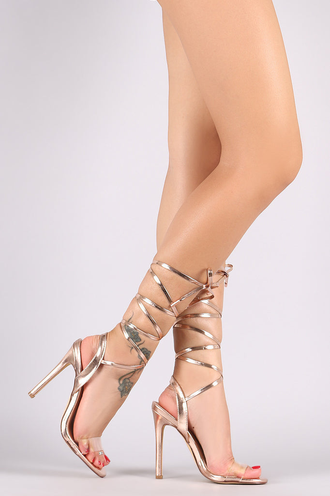 Metallic Strappy Leg Wrap Stiletto Heel