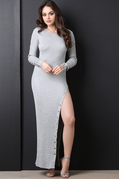 Button Up Side Slit Ribbed Knit Sweater Dress