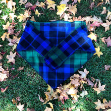 Blue & Green Tartan Plaid Bandana for Big Dogs