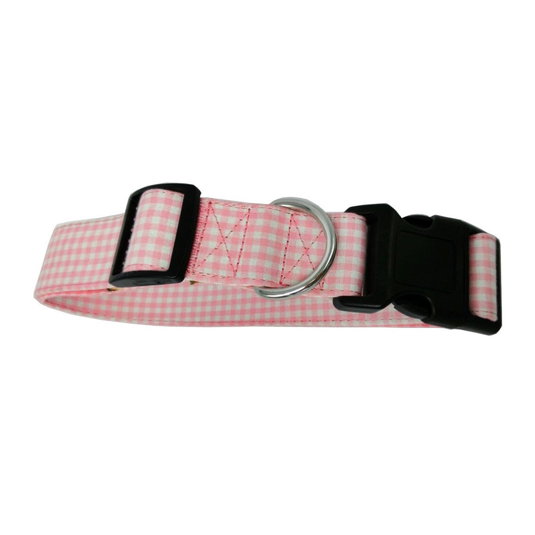 Pink Gingham Check Big Dog Collar