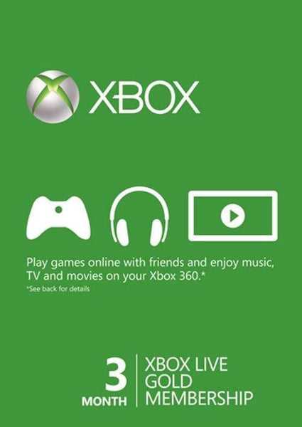 3 Month Xbox Live Gold Membership Card (Xbox One/360) - E-Gamer