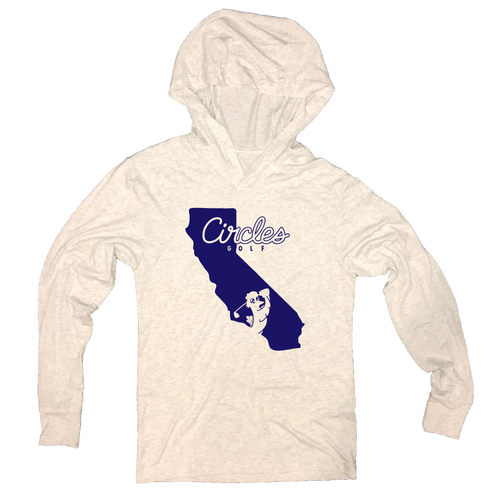 California State Silhouette Circles Golf Logo - Thin Long Sleeve Hoodie