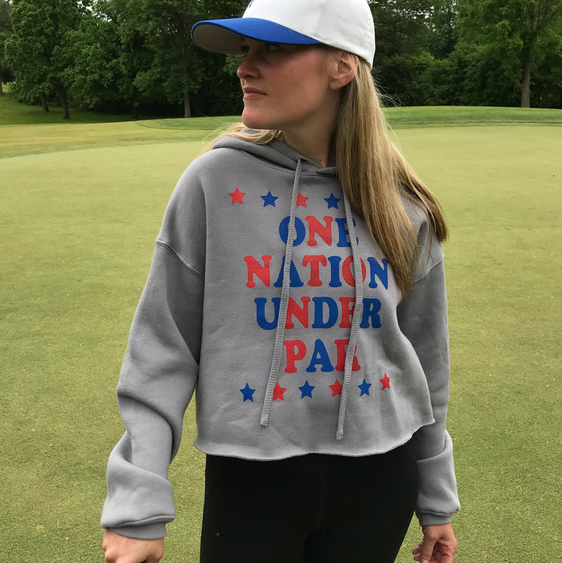 One Nation Under Par - USA Golf - Womens Cut-Off Cropped Hooded Sweatshirt