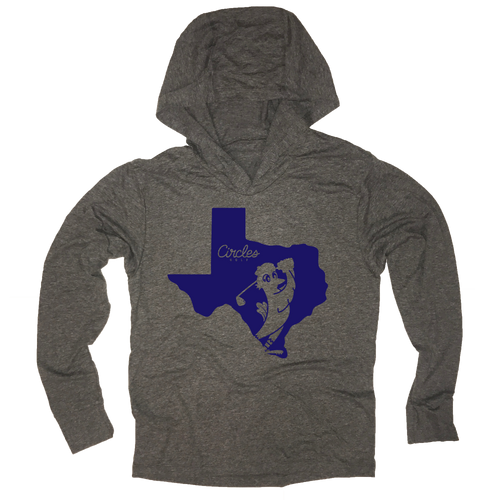 Texas State Silhouette Circles Golf Logo - Thin Long Sleeve Hoodie