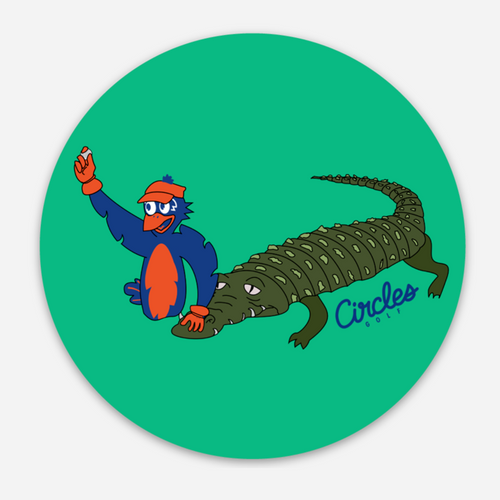 Sticker - Chirps Holding Up Golf Ball In Water With Alligator- 3 Inch Round Sticker