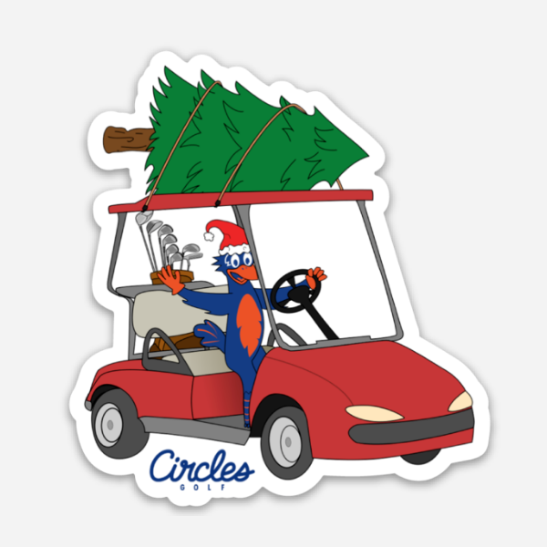 Sticker - Chirps in Golf Cart With Christmas Tree