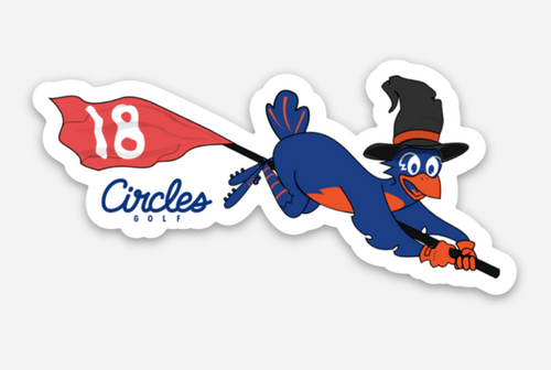 Sticker - Circles Golf Halloween Witch Chirps Riding On Flagstick Broom
