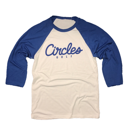 Circles Golf Text Logo Raglan