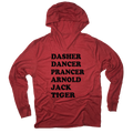 Dasher Dancer Prancer Arnold Jack Tiger Christmas Golf Thin Hooded Sweatshirt
