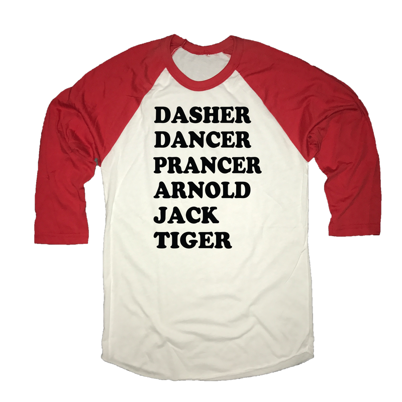 Dasher Dancer Prancer Arnold Jack Tiger Christmas Golf Raglan Shirt