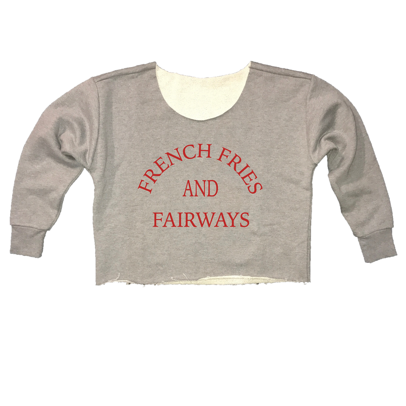 French Fries And Fairways - Womens Cut-Off Cropped Sweatshirt