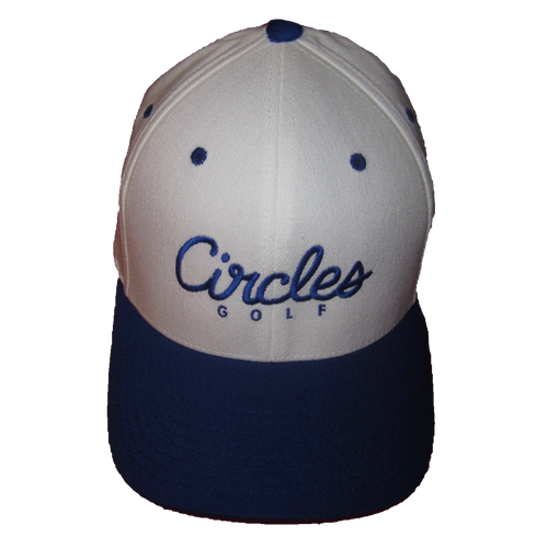 Blue Brim on White Circles Text Flexfit Hat