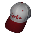 Red Brim on White - Circles Text Flexfit Hat