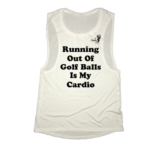 Running Out Of Golf Balls Is My Cardio Women's Oversized Golf Tank Top